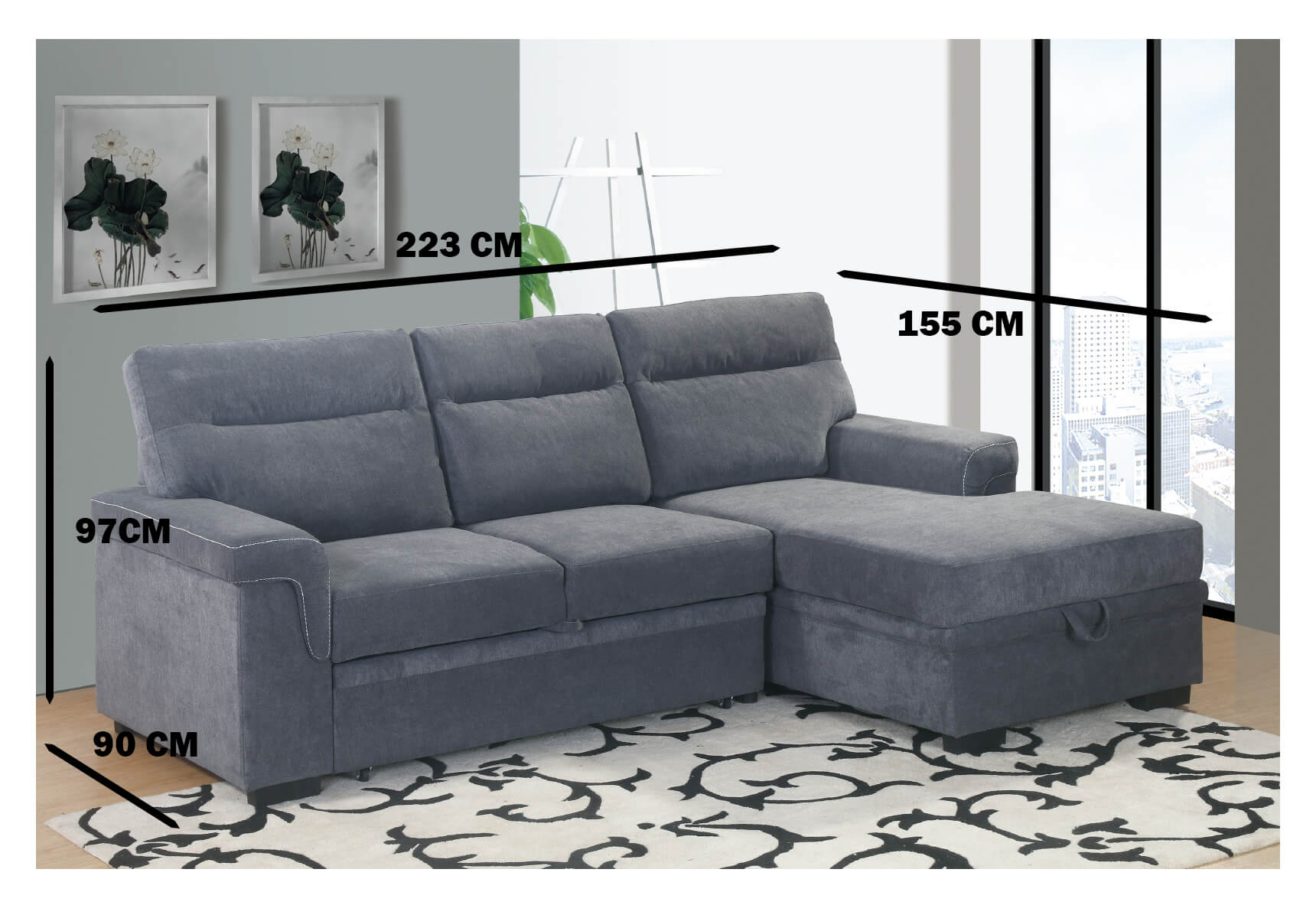 LYDIA CHAISE END SOFA BED